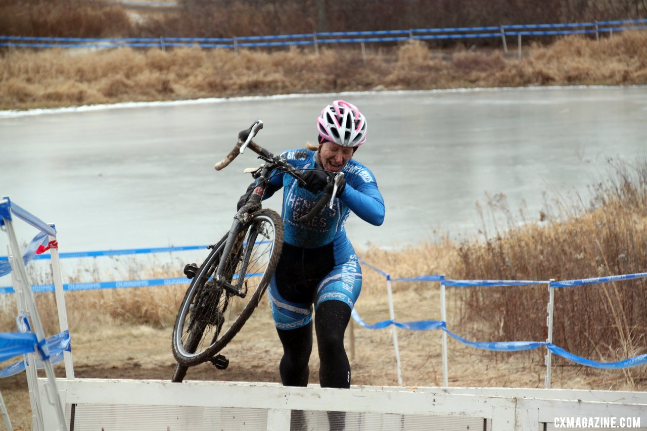 Lauri Webber takes the barriers, game face on. © Cyclocross Magazine