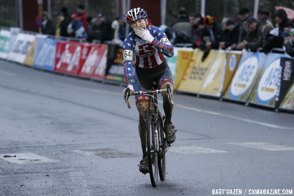 Logan Owen blowing a kiss at the finish © Bart Hazen