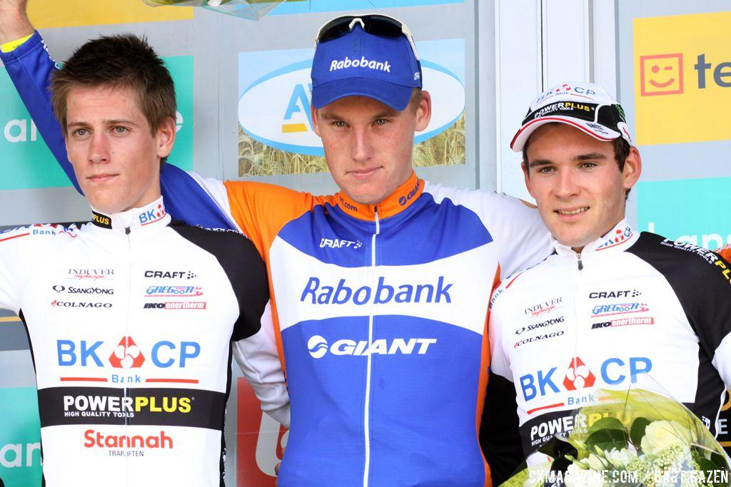 2012 Superprestige Ruddervoorde U23 Podium: Teunissen, Jens Adams, and Gianni Vermeersch  © Bart Hazen