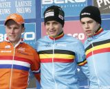 The Podium: Belgian Wietse Bosmans took the win ahead of Dutchman Corne van Kessel and Belgian Wout van Aert © Bart Hazen