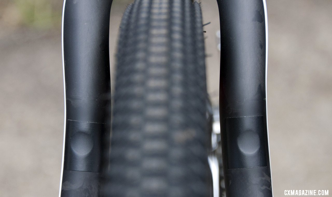 The cantilever posts on the rear stays are removable, and BH will have plugs available instead of the pictured tape. © Cyclocross Magazine