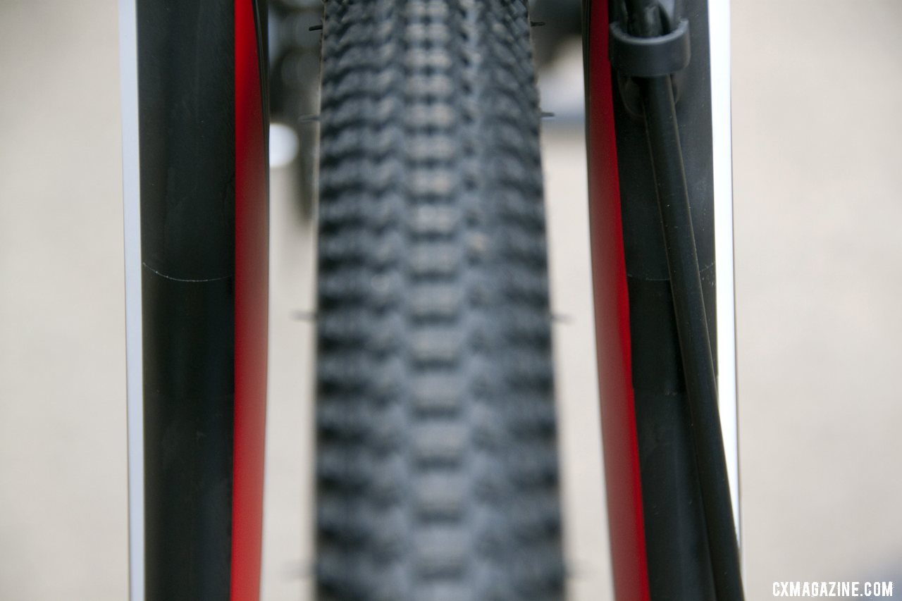 The front fork\'s cantilever posts are also removeable on the 2013 BH Bikes RX Team Disc carbon cyclocross bike. © Cyclocross Magazine