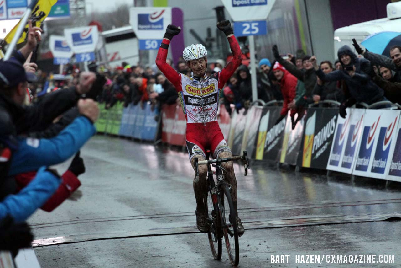 Kevin Pauwels (Sunweb-Napoleon Games Cycling Team) was the winner of the 2013 edition of Bpost bank trofee at Essen. © Bart Hazen / Cyclocross Magazine
