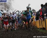 The Elite Men's field runs through the mud at Essen. © Bart Hazen / Cyclocross Magazine