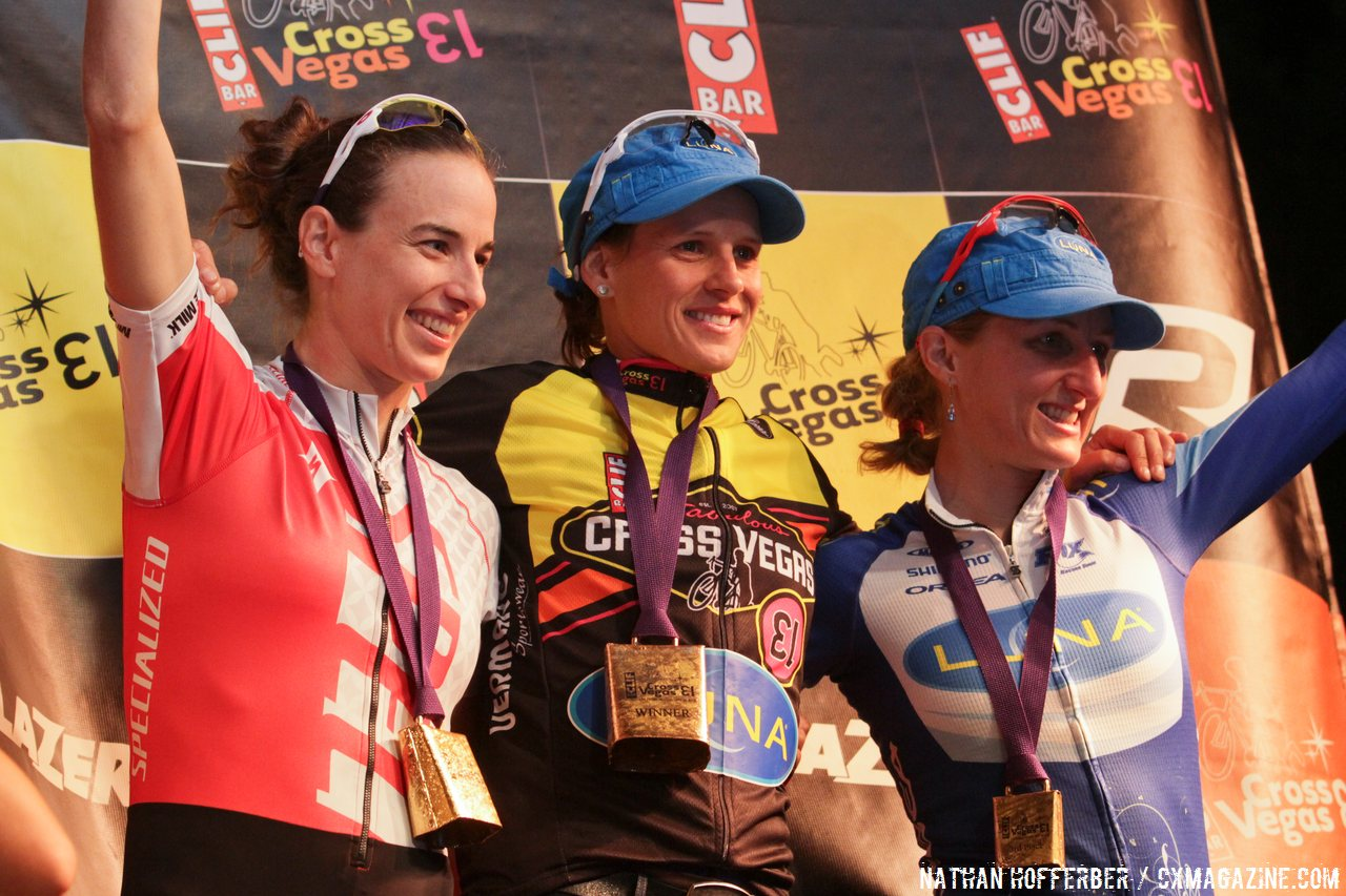 The women\'s podium: Davison, Nash and Pendrell (L to R) at Cross Vegas 2013. © Nathan Hofferber / Cyclocross Magazine
