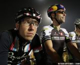 Jeremy Powers and Tim Johnson wait for the start at Cross Vegas 2013. © Nathan Hofferber / Cyclocross Magazine