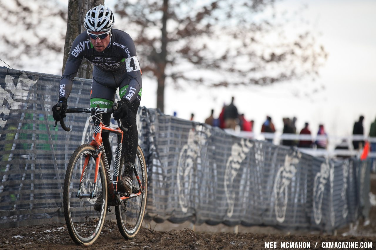 It\'s lonely at the front for Jonathan Page at 2013 Cyclocross National Championships.© Meg McMahon