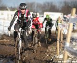 Zach McDonald leads the train of Lindine and the two Cannondale-CyclocrossWorld riders at 2013 Cyclocross National Championships.© Meg McMahon
