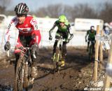 Justin Lindine leads Jamey Driscoll and Ryan Trebon at 2013 Cyclocross National Championships.© Meg McMahon