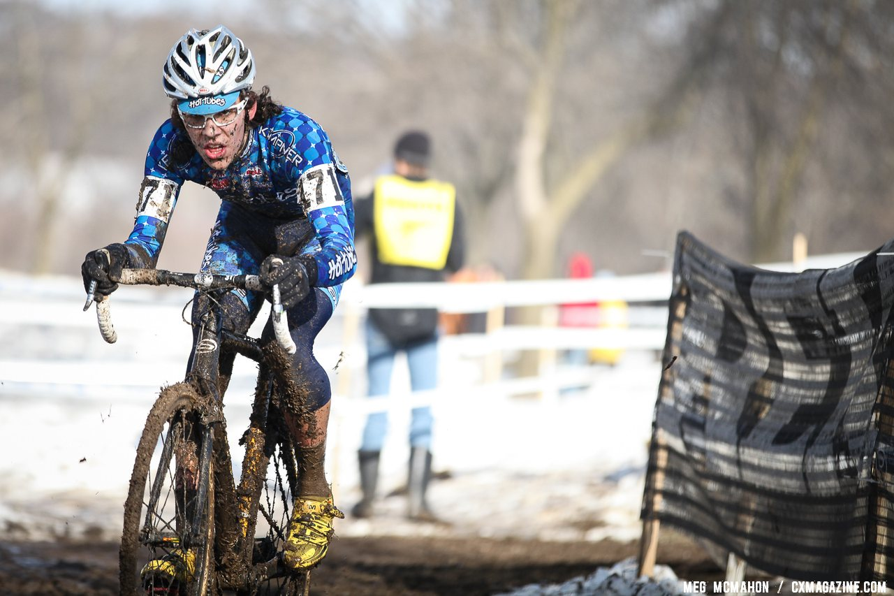 Curtis White raced to second place, after an impressive second in Europe. Junior Men 17-18, 2013 Cyclocross National Championship. © Meg McMahon