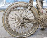 Gunner Dygert's mud-covered bike. No, that's not a Mad Fiber wheel.  © Cyclocross Magazine