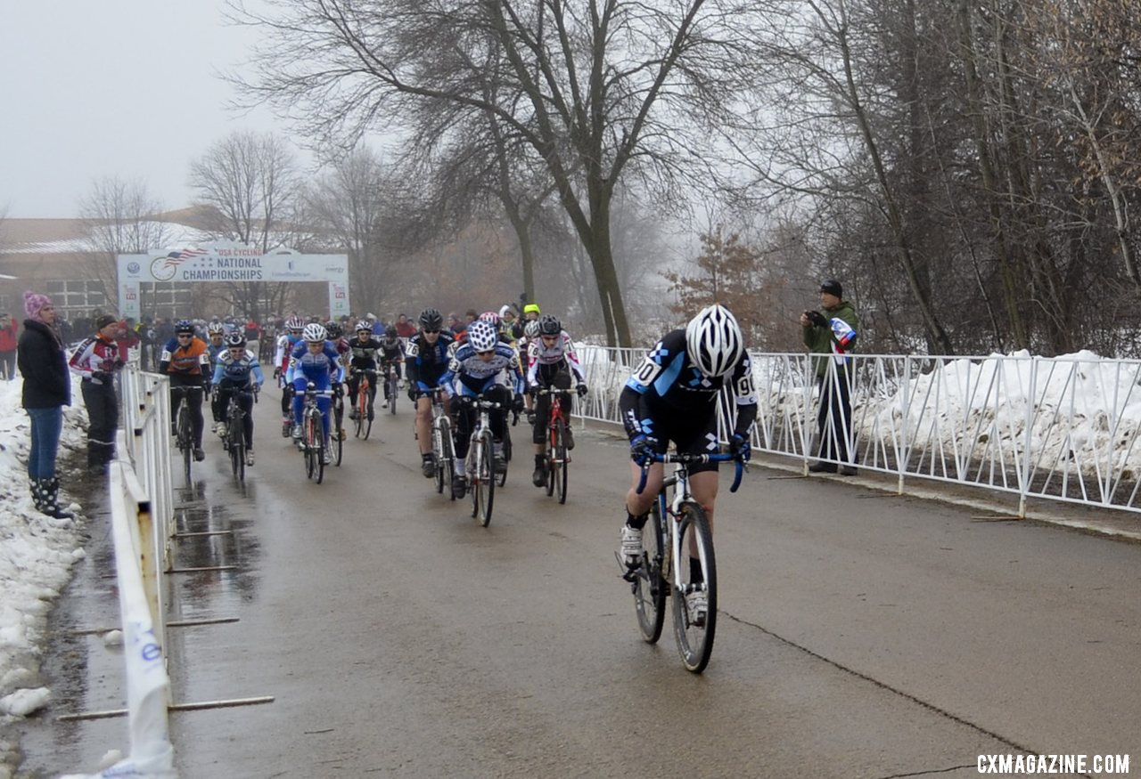 Ellen Noble (Trek Cyclocross Collective) stormed off the line and never looked back in the Junior Women 17-18, 2013 Cyclocross National Championships. © Cyclocross Magazine