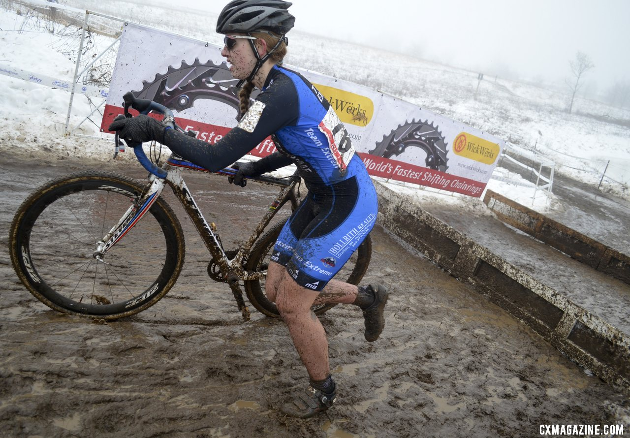 Corrie Osborne (Team Extreme) gave chase and would finish 2nd.  © Cyclocross Magazine
