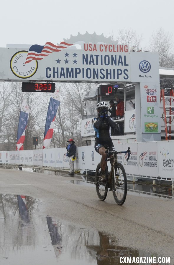 Ellen Noble was jubilant with her victory in the 17-18 Junior Women\'s race. © Cyclocross Magazine