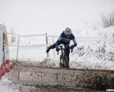 Brems at the barriers, alone in the 50-54 race. © Cyclocross Magazine