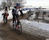 Walter Axthelm chased by Frederic Schmid for the 70+ title.  ©Cyclocross Magazine