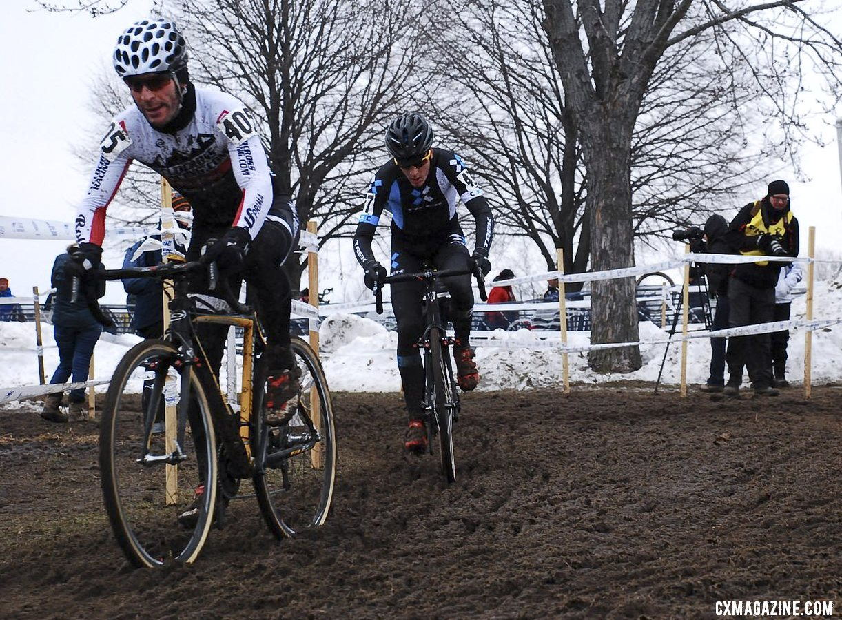 Shriver overcomes a slow start to finally catch the leader. Masters 30-34. 2013 Cyclocross National Championships. © Cyclocross Magazine
