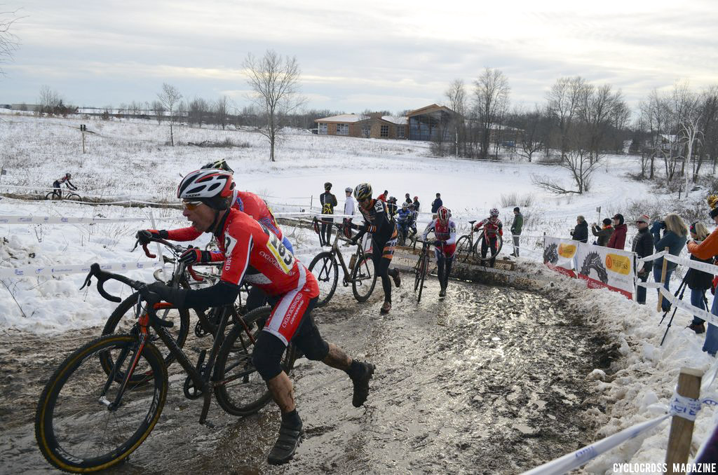 Brad Young leads a chase group. Masters 55-59, 2013 Cyclocross National Championships. ©Cyclocross Magazine