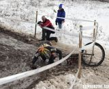 Lennard Zinn takes a hard face plant into an icy puddle.  ©Cyclocross Magazine