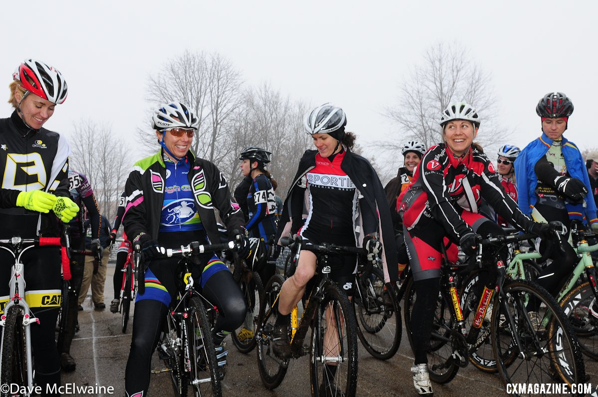 Nervous moments before the start: Masters Women 30-34. 2013 Cyclocross Nationals. © Dave McElwaine
