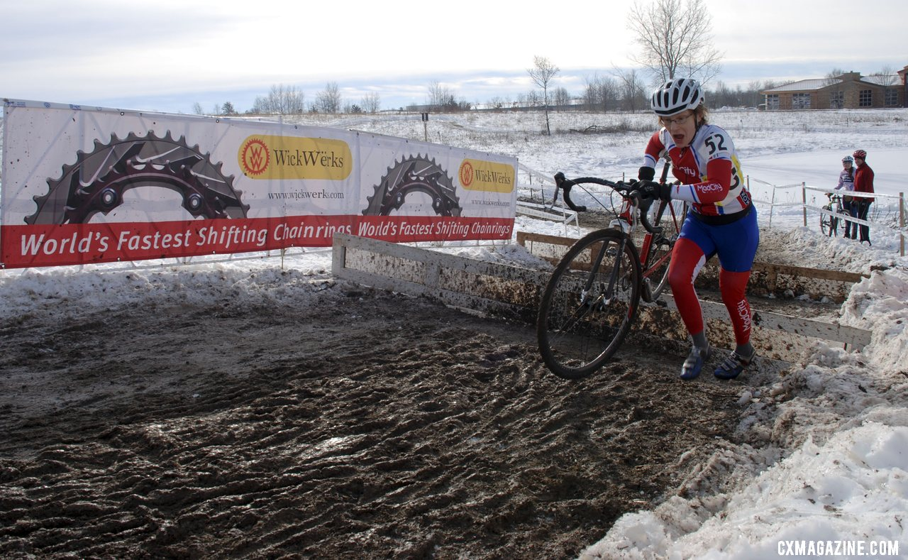 Melissa Behr maximizing her cold air intake at the barriers. 2013 Cyclocross National Championships. ©Cyclocross Magazine