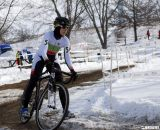 Patricia Kaufmann negotiates thes slippery corners. 2013 Cyclocross National Championships. ©Cyclocross Magazine