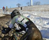 Bradford raced with the pressure of defending a title and being #1. It got the best of his rear tire. © Cyclocross Magazine