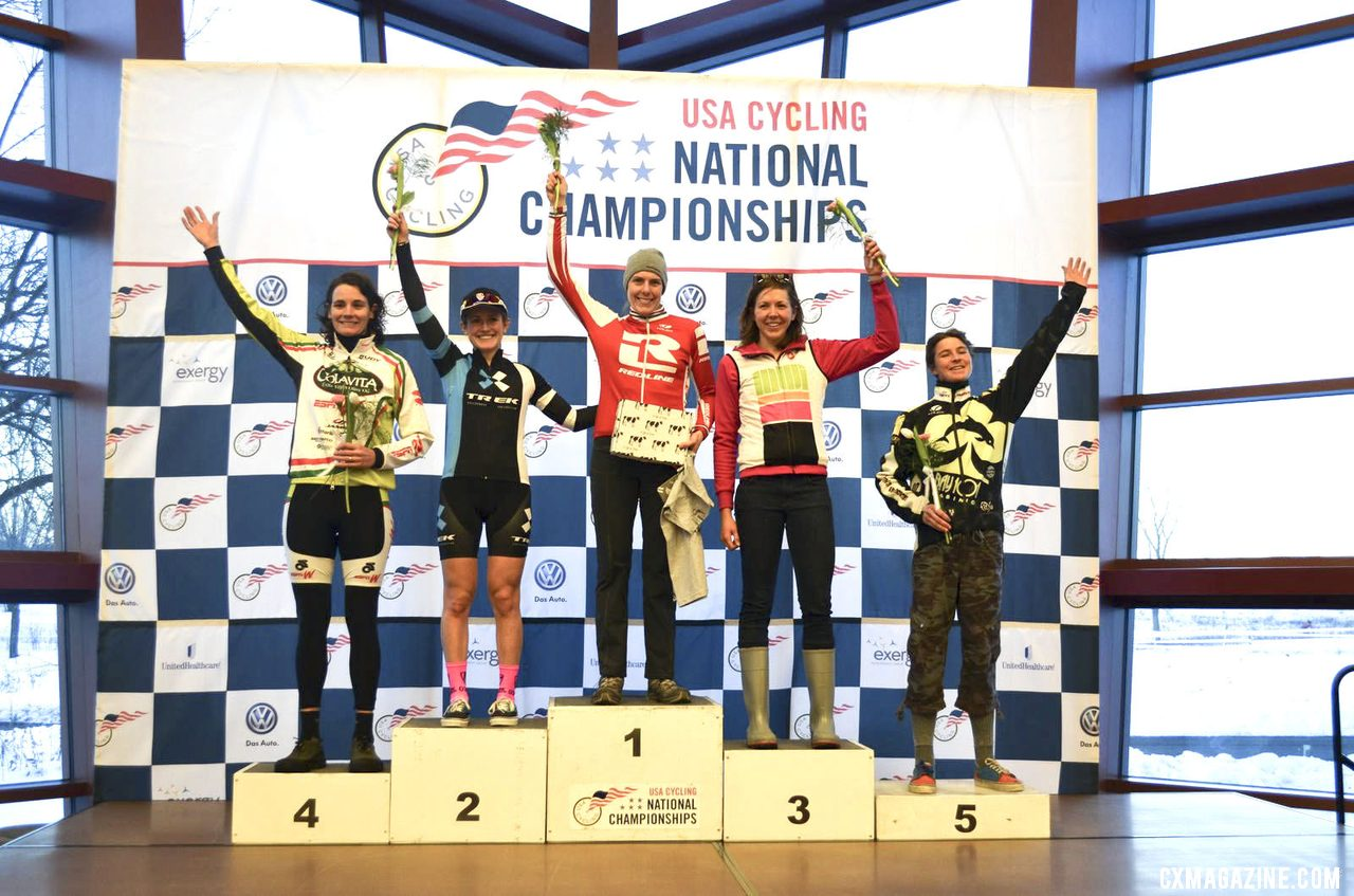 2013 Singlespeed Women\'s podium: Studley, Noble, Markey, Dowidchuk, and Sherrill. © Cyclocross Magazine