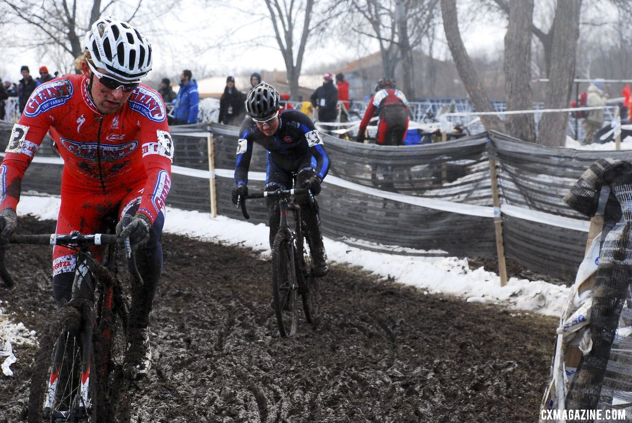 Cody Kaiser ahead of Sam O\'Keefe. U23 Men, 2013 Cyclocross National Championships. © Cyclocross Magazine
