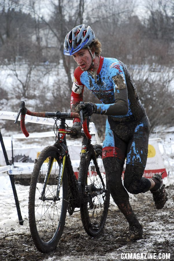 Andrew Dillman with an impressive 2nd place ride as a first-year U23. 2013 Cyclocross National Championships. © Cyclocross Magazine