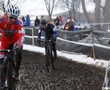 Cody Kaiser ahead of Sam O'Keefe. U23 Men, 2013 Cyclocross National Championships. © Cyclocross Magazine