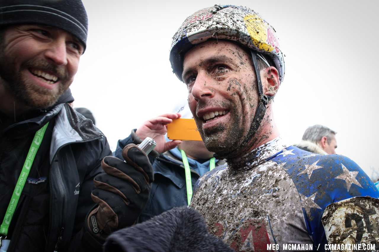 Cyclocross Magazine\'s Robbie Carver speaks with a happy Tim Johnson © Meg McMahon