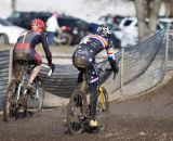Going from the starting straight and back into the mud at 2013 Cyclocross World Championship Masters Men 40-44. © Cyclocross Magazine