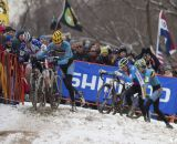 The battle for third in the Junior Men's race was incredibly tight at the 2013 Cyclocross World Championships. © Cyclocross Magazine