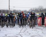 The Masters men took to the course in frigid, but muddy, conditions © Cyclocross Magazine