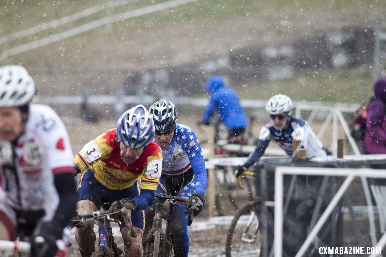 The tight battle for the 65-69 title. © Cyclocross Magazine