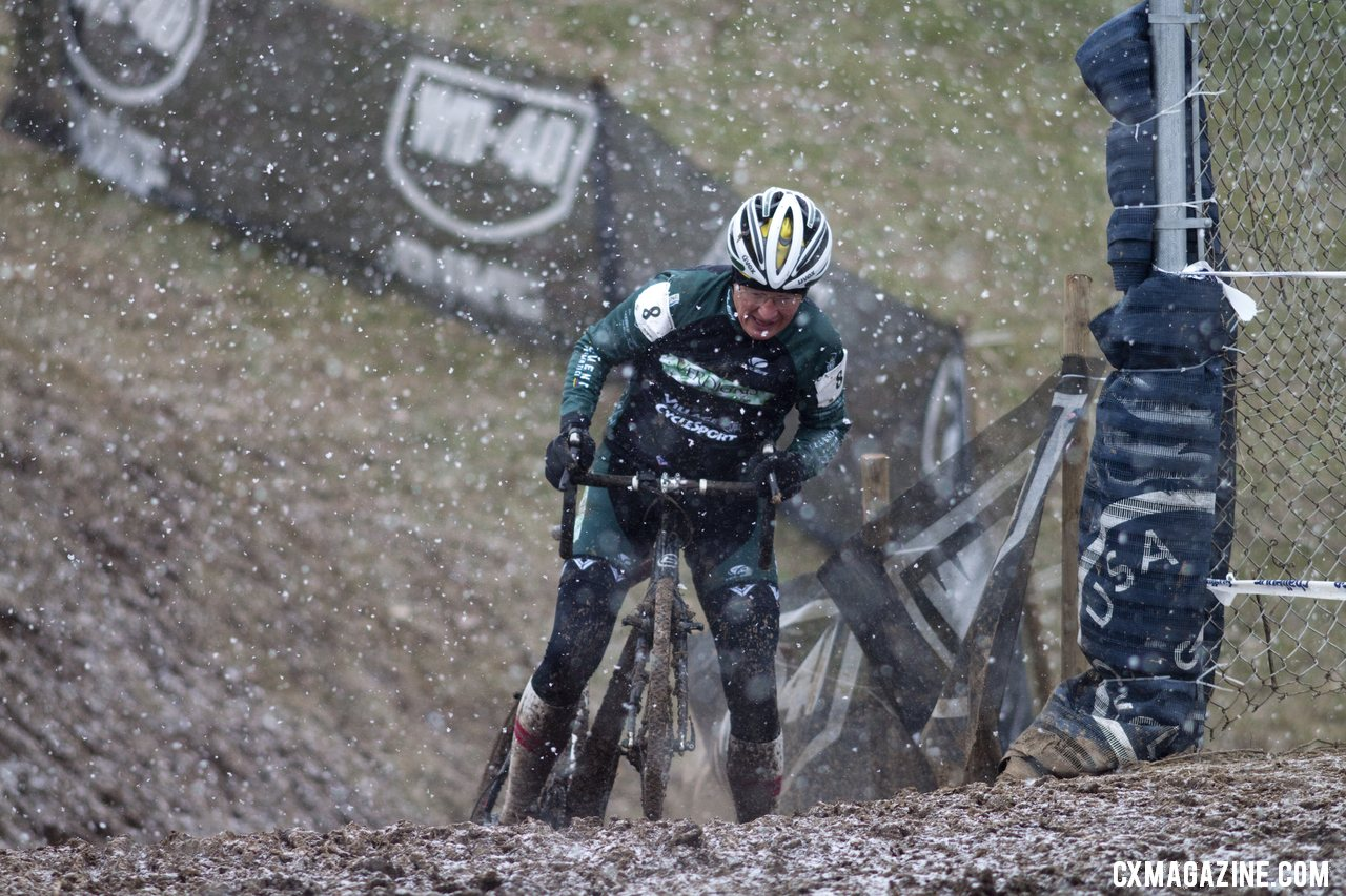 The mud turned sections that were easily-rideable yesterday into true challenges.  © Cyclocross Magazine
