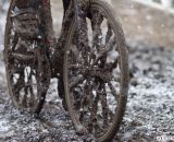 Thick mud covered everything, making normal spokes looks like carbon blads. © Cyclocross Magazine