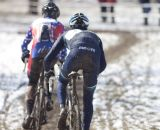 Don Myrah battling with Jon Cariveau in the tightest race of the day. 2013 Cyclocross World Championships, Masters 45-49. © Cyclocross Magazine