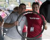 Mercury Cycling's Chris Mogridge and Challenge Tire's Stefano Lumbaco team up to hold Mercury's new 290g carbon disc rim down. © Cyclocross Magazine