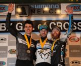 The Elite Men's podium (L-R): Mike Garrigan (Van Dessel/Shimano), 2nd; Shawn Milne (Keough Cyclocross), 1st; Robert Marion (American Classic Pro CX Team), 3rd. © Meg McMahon