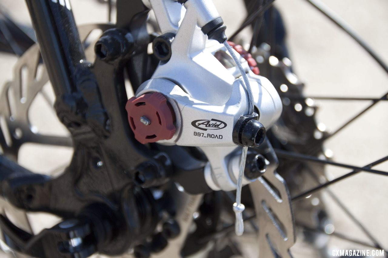 Avid\'s BB7 mechanical disc brakes slow things down on the Redline Conquest. Sea Otter 2012. ©Cyclocross Magazine