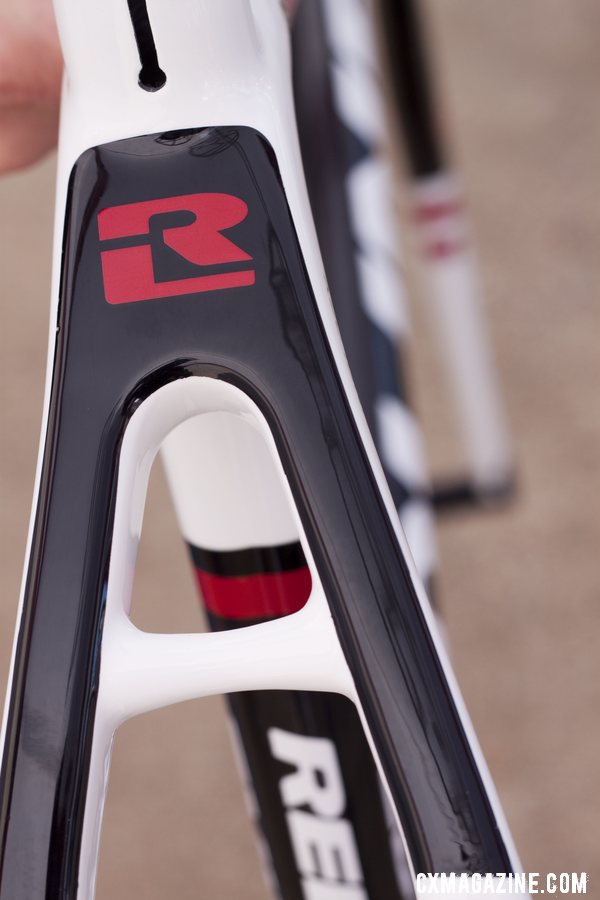 Bold new graphics on the 2013 Conquest Team carbon frame. Sea Otter 2012. ©Cyclocross Magazine