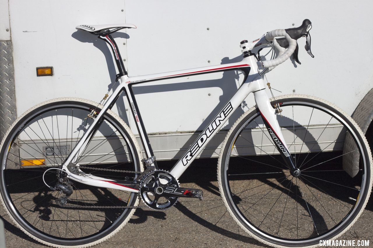 Rutledge's personal white Conquest Team bike, ready for the 2012 season. Sea Otter 2012. ©Cyclocross Magazine