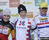 The Elite Women's podium (L-R): Sanne Cant (Enertherm-BKCP), 2nd; Katie Compton (Trek Cyclocross Collective), 1st; Nikki Harris (Young Telenet-Fidea), 3rd. © Bart Hazen