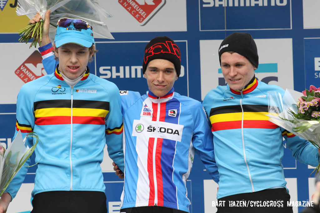 The Junior\'s podium (L-R): Yannick Peeters, 2nd; Adam Toupalik, 1st; Thijs Aerts, 3rd. © Bart Hazen / Cyclocross Magazine