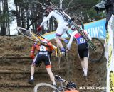 The Junior's race leaders negotiate the run up. © Bart Hazen / Cyclocross Magazine