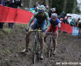 Thijs van Amerongen leads Francis Mourey, with Klaas Vantornout in the distance. © Bart Hazen / Cyclocross Magazine