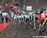 The field takes to the off-camber section that proved difficult for some. © Bart Hazen / Cyclocross Magazine