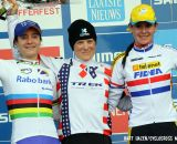 The Elite Women's Podium (L-R): Marianne Vos (Rabobank-Giant), 2nd; Katie Compton (Trek Cyclocross Collective), 1st; Nikki Harris (Telenet-Fidea), 3rd. © Bart Hazen / Cyclocross Magazine